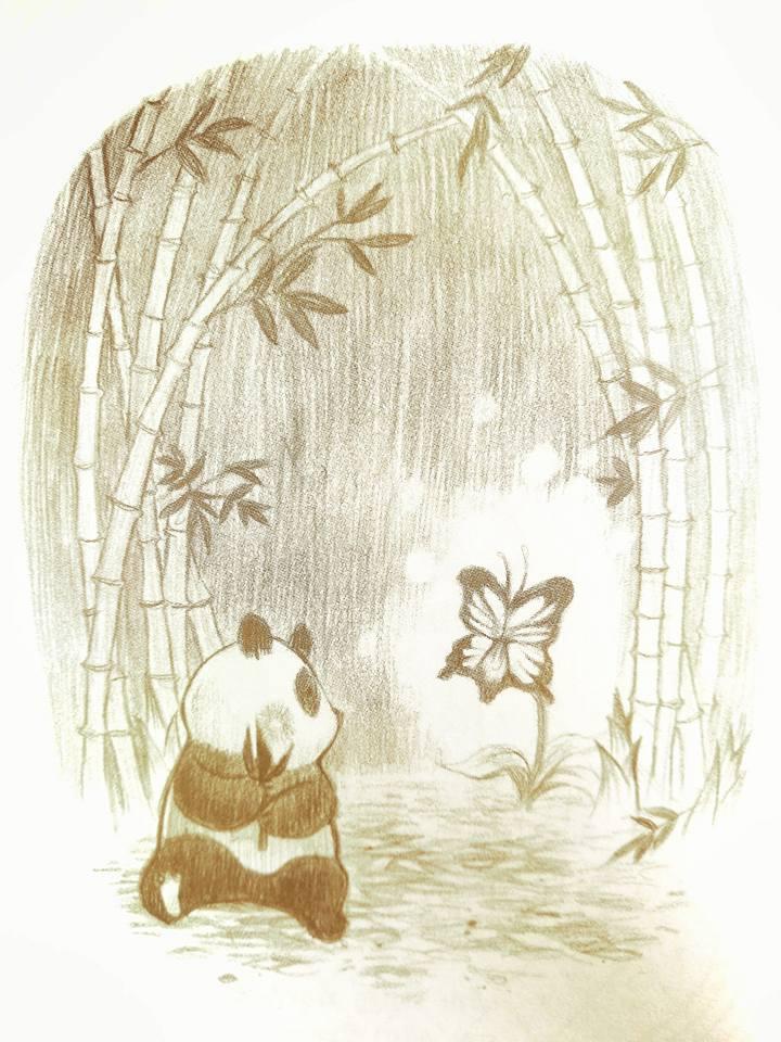 หมีแพนด้า จากนิทานเรื่อง การเดินทางของความสุข