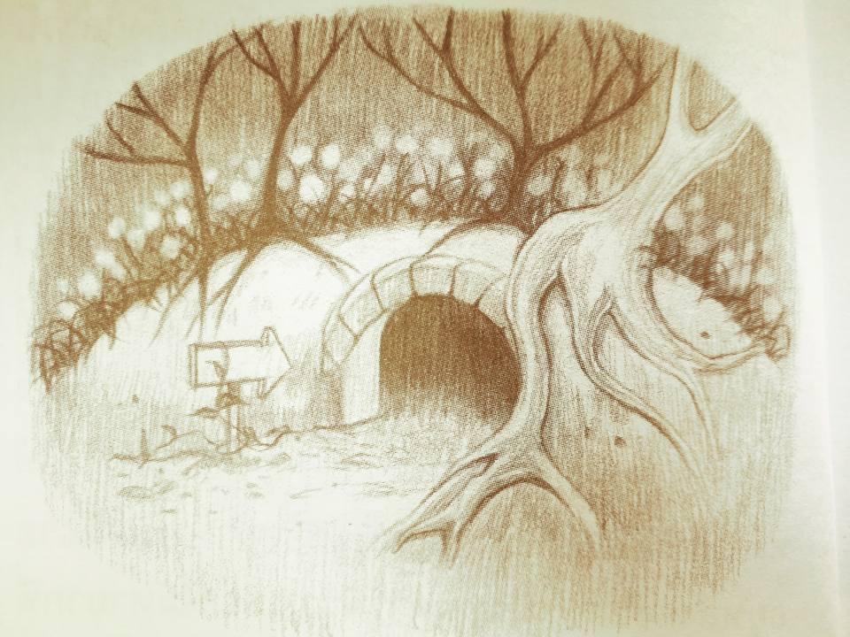 ภาพอุโมงค์จากนิทานเรื่อง การเดินทางของความสุข
