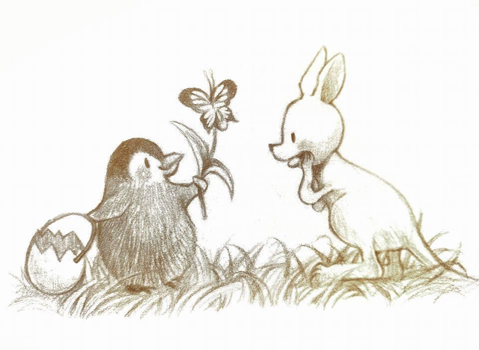 กระต่ายให้ดอกไม้แก่จิงโจในนิทานเรื่อง การเดินทางของความสุข