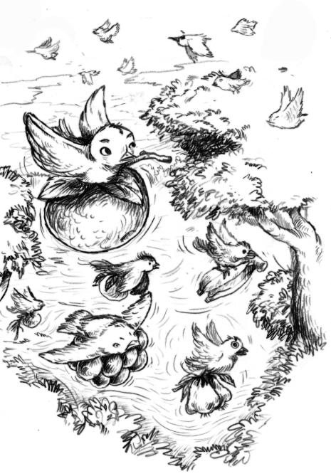 6) นกเข้ามาขโมยผลไม้