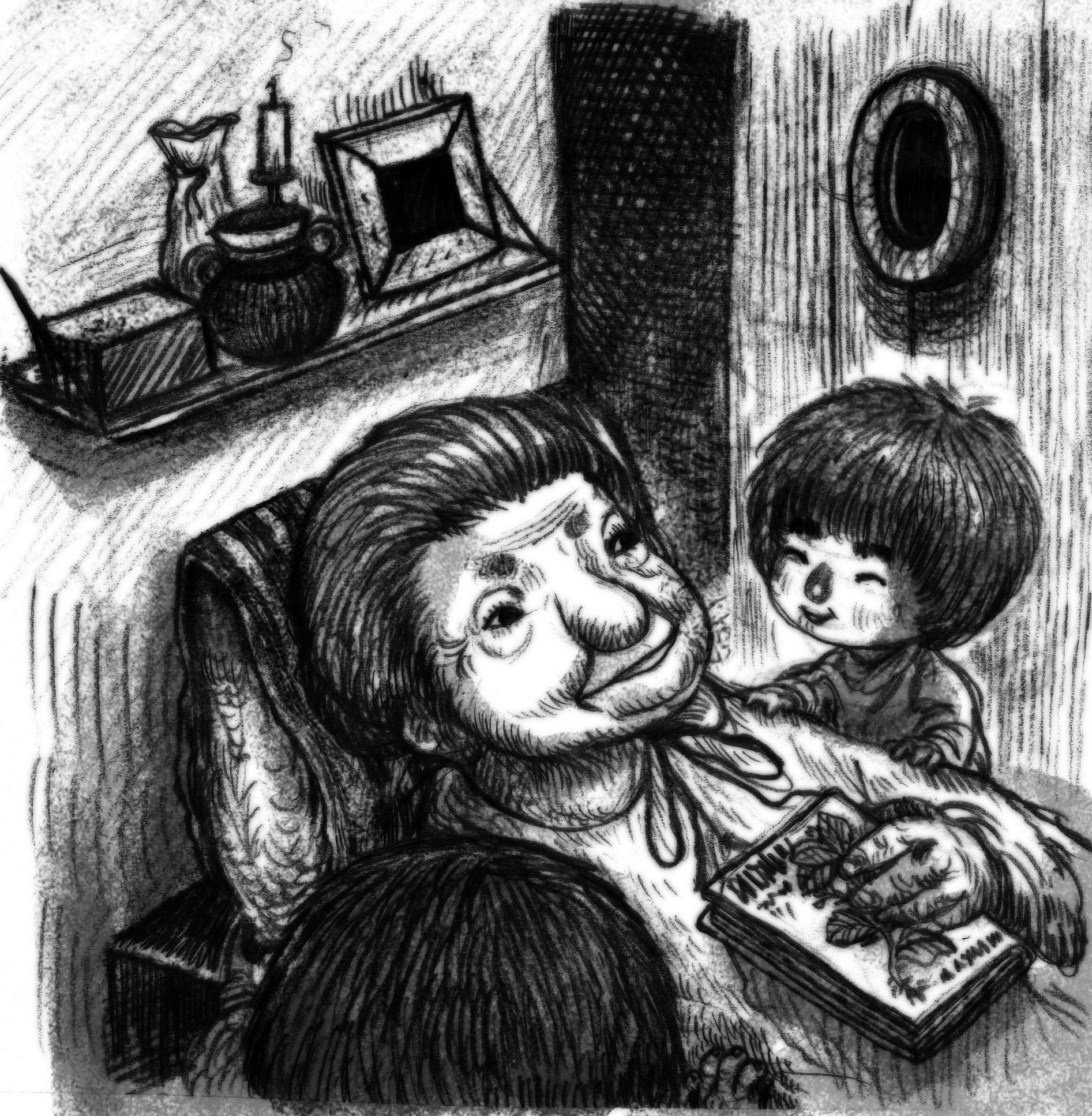 7) เด็กสองคนช่วยกันดูแลคุณยายเป็นอย่างดี