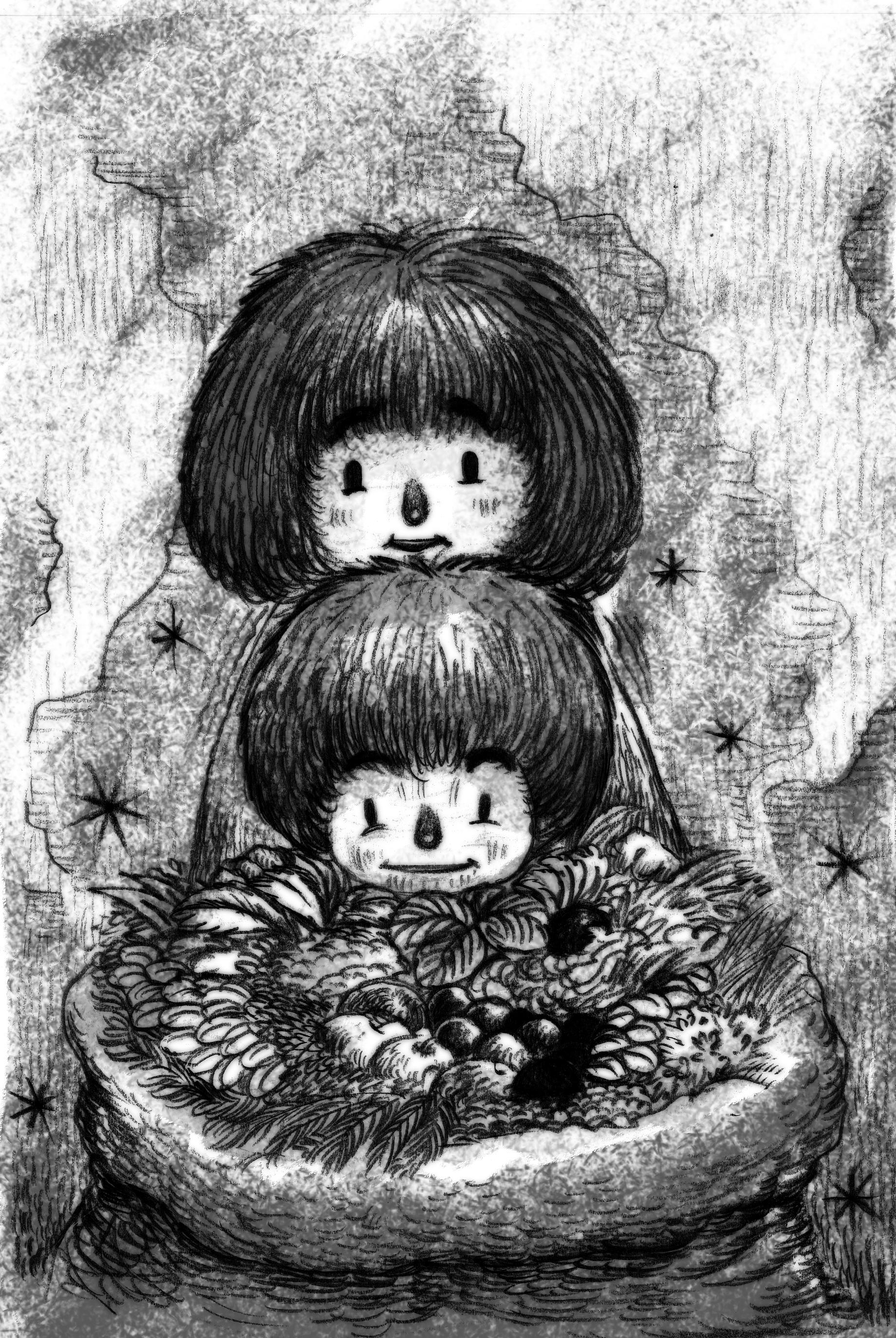 9) เด็กทั้งสองช่วยคุณยายเก็บสมุนไพร