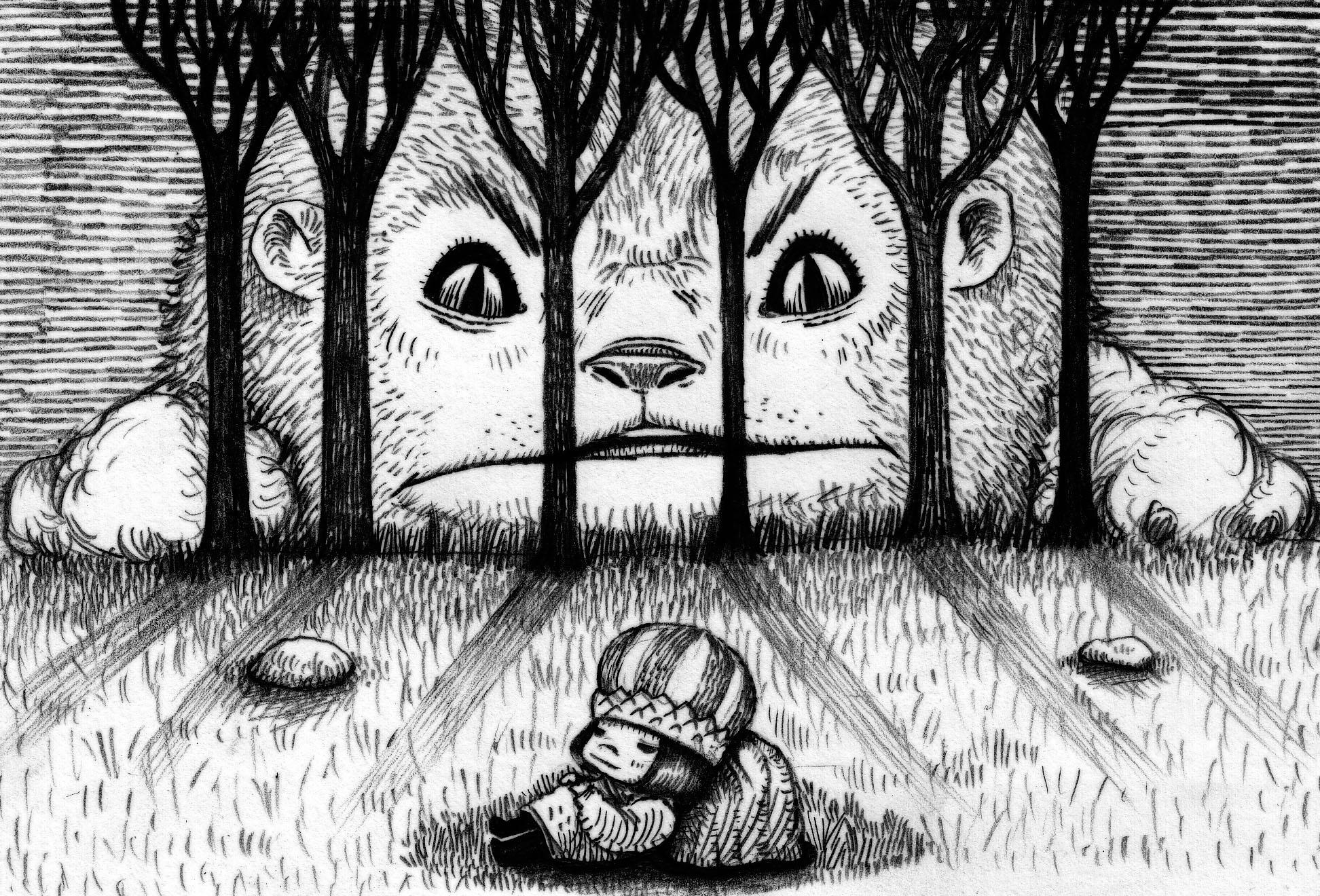 12) เจ้าชายล้มตัวลงนอนพัก สิงโตมองผู้บุกรุก